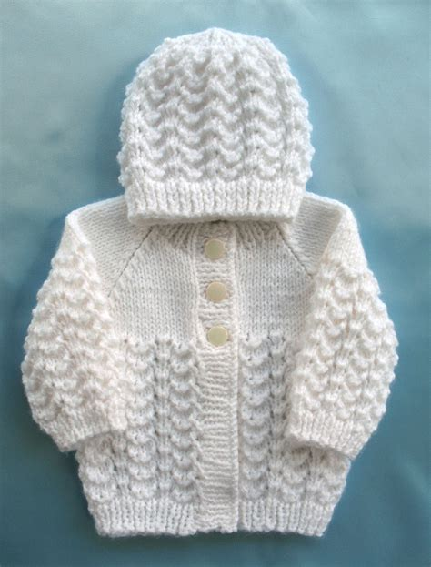 Handmade Knitted Sweaters - baby sweater knit white set preemie by sticksnstonesgifts