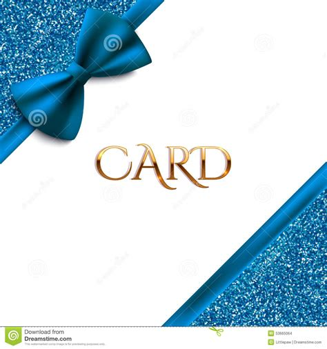 blue card template invitation decorative card template with blue bow and
