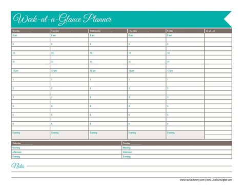 week at a glance template 30 days of free printables 2015 week at a glance planner