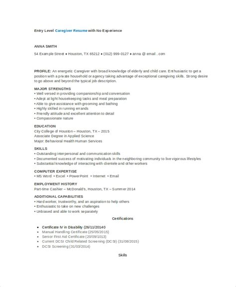 Resume Sles For Caregiver by Sle Caregiver Resume No Experience 28 Images Caregiver Description For Resume Resume Exles