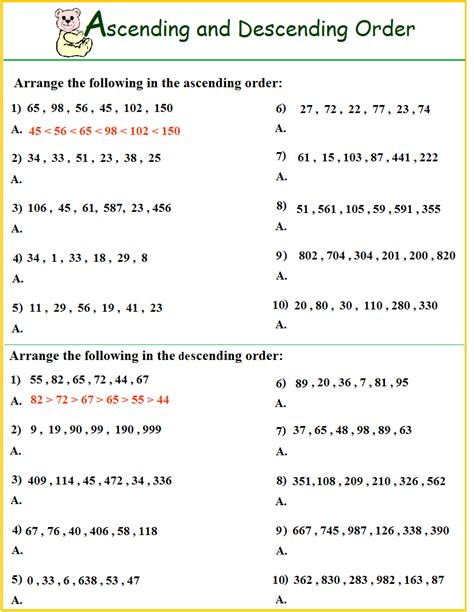 ascending descending order worksheets chin tze huay d20102044498 el p04 math year 2
