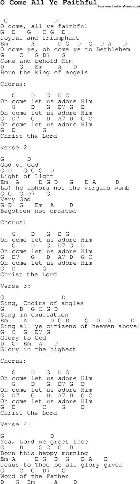 O Come All Ye Faithful Lyrics And Guitar Chords