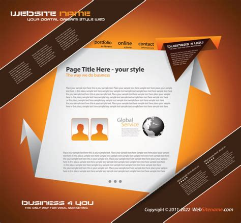Origami Web Design - 4 designer origami website design 02 vector material