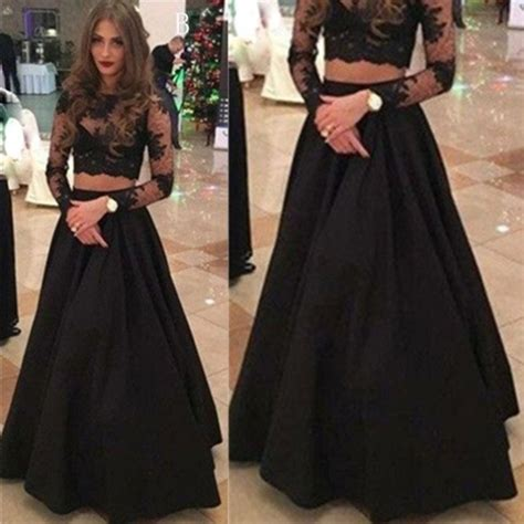 Black Mix Lace Flower Top 11012 Fashion Dress Baju Import black sleeves a line lace two pieces prom dresses