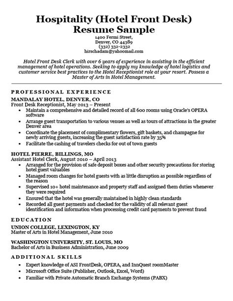resume format for hotel hotel clerk resume sle resume companion