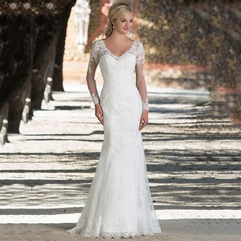 vintage long sleeve wedding dresses plus size mermaid