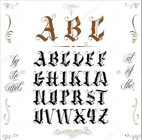 tattoo fonts vintage top letters tattoos stencils images for