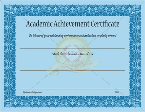 achievement certificates templates academic achievement certificate template blue