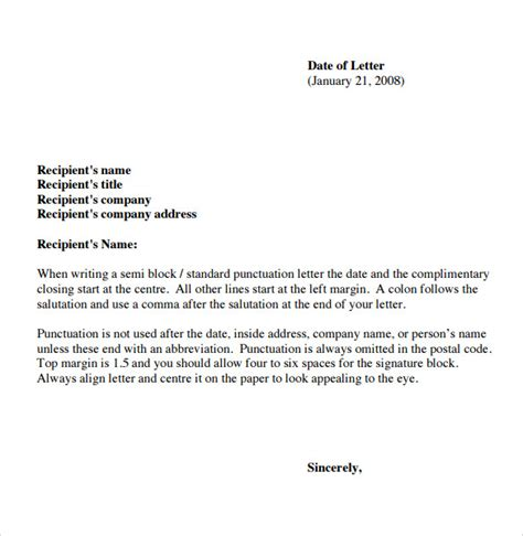 business letter basics sle basic letter format 7 documents in pdf