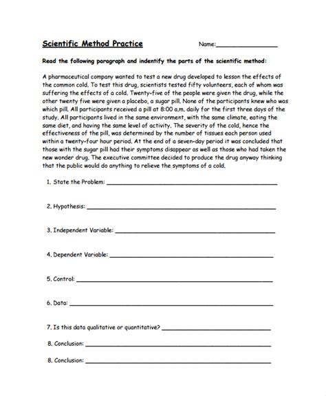 scientific method practice worksheet answers 9 scientific method worksheets sle templates