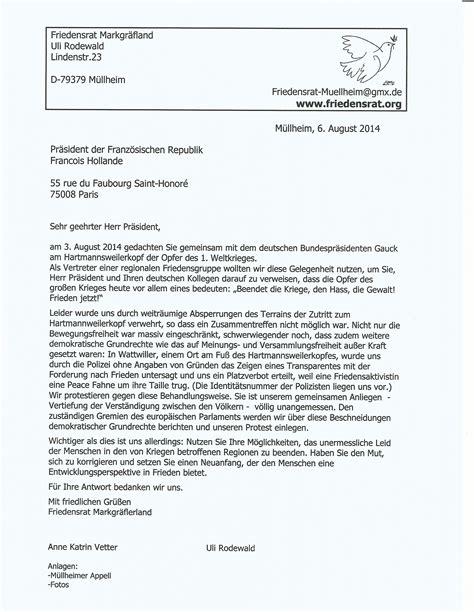 Brief Französisch Musterbrief Friedensrat Markgr 228 Flerland Friedensrat Trifft Pr 228 Sidenten