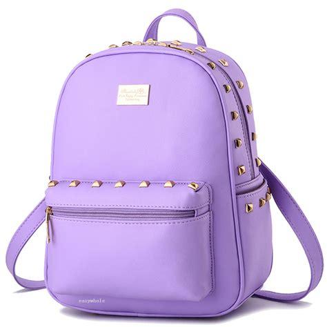 Backpack Rivet womens leather shoulder backpack rivet satchel travel bag