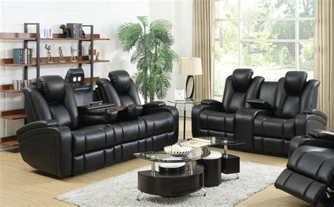 Coaster 601741p 601742p Black Leather Power Reclining Sofa Leather Reclining Sofa And Loveseat Sets