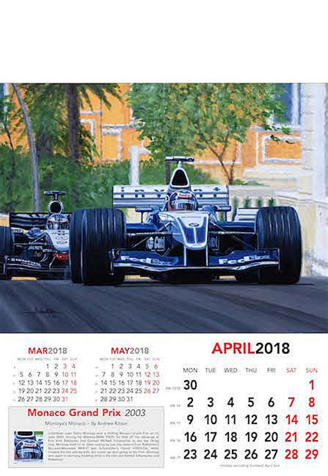 F1 Calendar 2018 Calendar Automobile Kitson Andrew Formula 1 Calendar