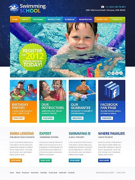 Swimming Responsive Website Template Web Design Exles Website Template School Website Cheap Web Page Templates