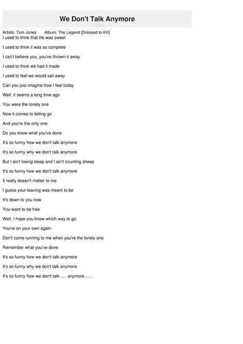 testo anymore we don t talk anymore lyrics tom jones