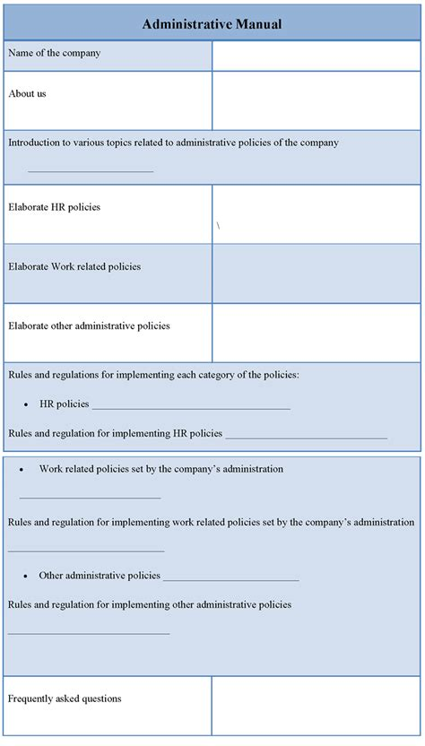 administrative procedures manual template sop policies