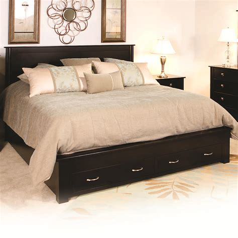 Bed Frame With Drawers Amish Cosmopolitan Frame Bed With 2 Footboard Drawers By Daniel S Amish Wolf Furniture