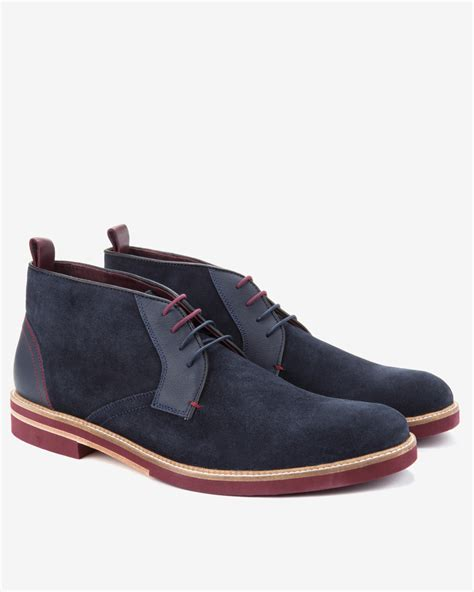 ted baker suede desert boots in blue for lyst