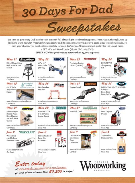 Woodworking Sweepstakes - popular woodworking sweepstakes 30 days for dad