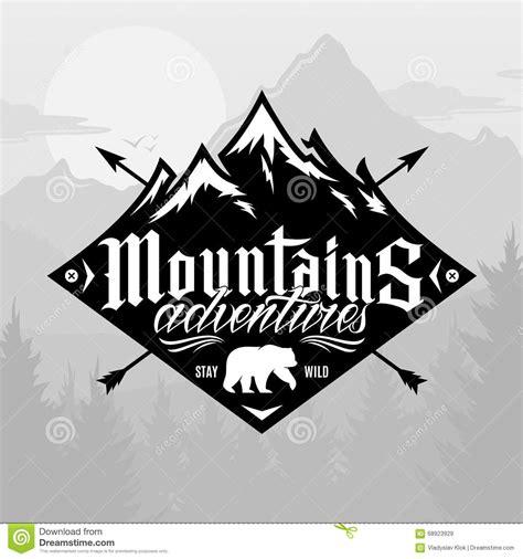 vector mountain  outdoor adventures logo stock vector