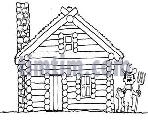 free coloring pages of log cabins