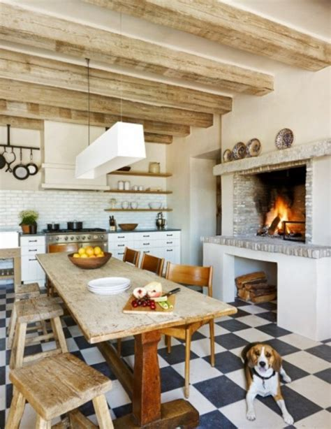 Modern Kitchens With Fireplaces by Country Kitchen Ideas Mixing Of Modern And Traditional