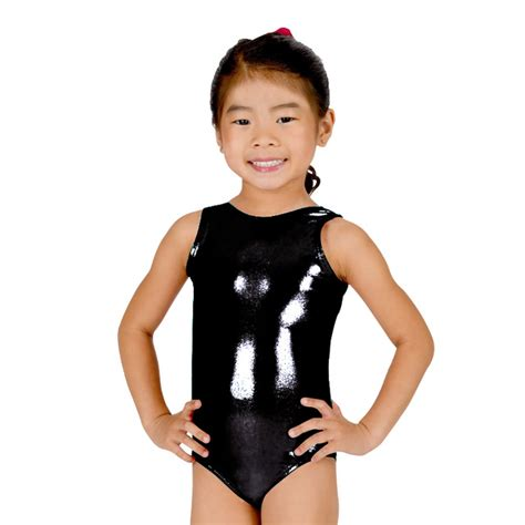 little girls black bodysuit ensnovo girls shiny suit ballet dancewear sleeveless