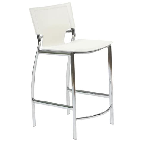 White Leather Bar Stool Vinnie Leather Counter Stool White Chrome Bar Stools