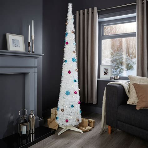 bq pop up christmas trees 6ft pop up white pre lit pre decorated tree departments diy at b q