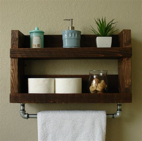 Wooden Shelves For Bathroom Rustic Modern 2 Tier Bathroom Wall Shelf With 18 Quot Metal Towel Bar Shelf 5 5 Quot By Keodecor