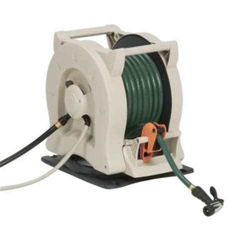 suncast 100 ft hydro power auto rewind hose reel with