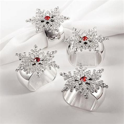 set of 4 white snowflake napkin rings christmas