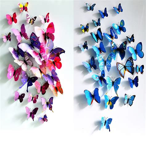 new 12pcs 3d butterfly magnet 12pcs 3d butterfly wall sticker fridge magnet home decor