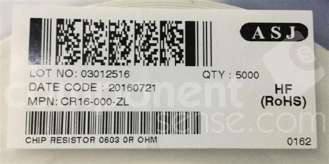 asj smd resistor cr16 000 zl asj cr16000zl wrc37748