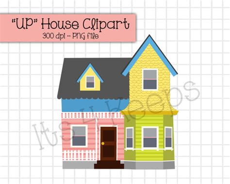 printable 3d up house up house clipart instant download png