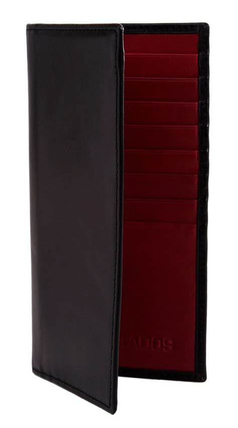 Handmade Leather Goods Uk - black and bordeaux leather breast wallet estados