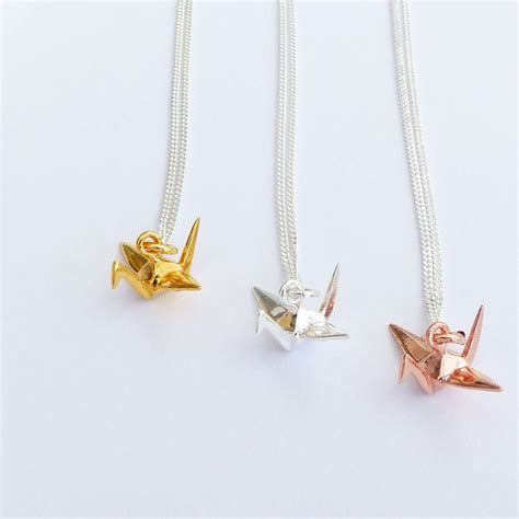 Silver Origami Crane Necklace - sterling silver origami crane necklace by evy designs