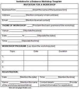 workshop template invitation for a business workshop template printable