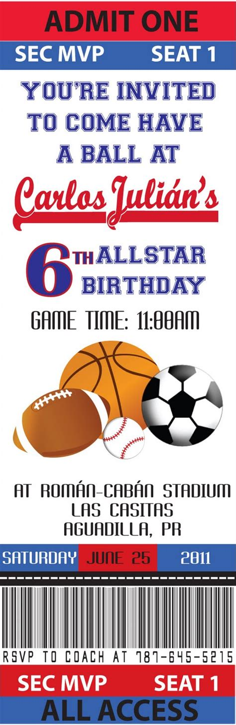 sports ticket invitation template partylicious june 2011