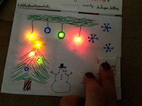 Cards With Lights - a handmade light up card cards 2013 redditgifts