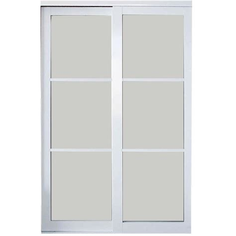 Glass Closet Doors Home Depot Contractors Wardrobe 48 In X 81 In Eclipse 3 Lite Mystique Glass White Finish Aluminum