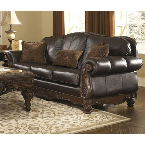 north shore sofa set ashley north shore leather sofa in dark brown 2260338