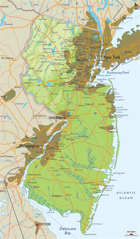 new jersey on the map of usa physical map of new jersey ezilon maps