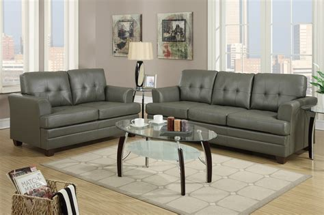 Leather Sofa And Loveseat Poundex F7774 Grey Leather Sofa And Loveseat Set A