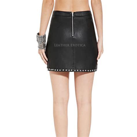 studded mini leather skirt for