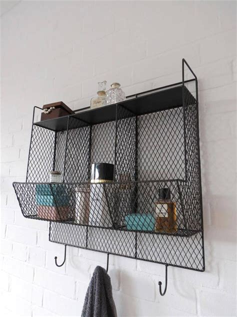 Wire Bathroom Shelves Bathroom Metal Wire Wall Rack Shelving Display Shelf Industrial Storage Black