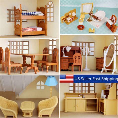 dolls house kitchen room bedroom miniature furniture set