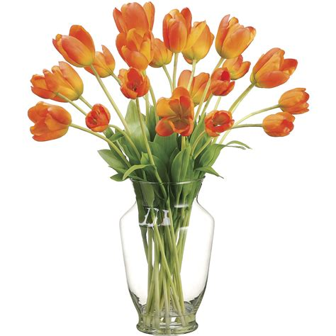 Artificial Tulips In Glass Vase by 22 Inch Artificial Tulip Arrangement In Glass Vase Wf1497 Or