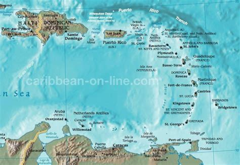 map of the caribbean islands eastern caribbean map